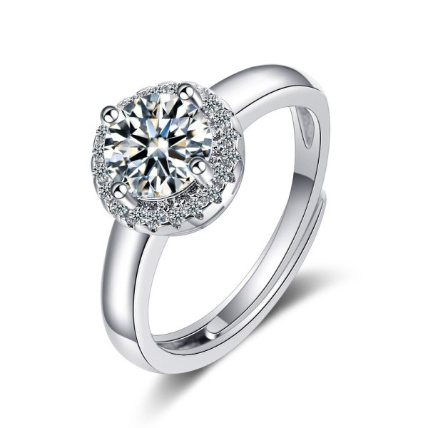 European Round Ring Women's Diamond Wide-sided Ring Hand Jewelry XzJZ364