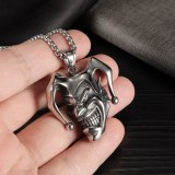 European and American Retro Clown Skull Evil Smiley Face Stainless Steel Men's Necklace Gb1928