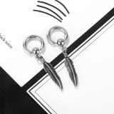 Japanese and Korean Street Retro Hip Hop Leaf Tassel Stainless Steel Stud Earrings Gb676
