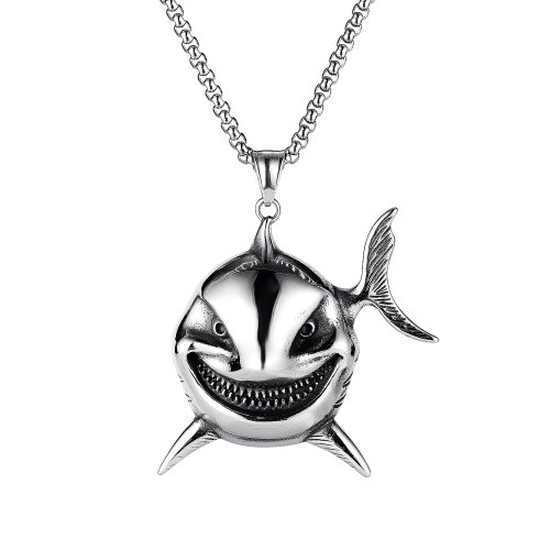 European and American Personality Retro Clownfish Evil Smiley Face Stainless Steel Men's Necklace Gb1929