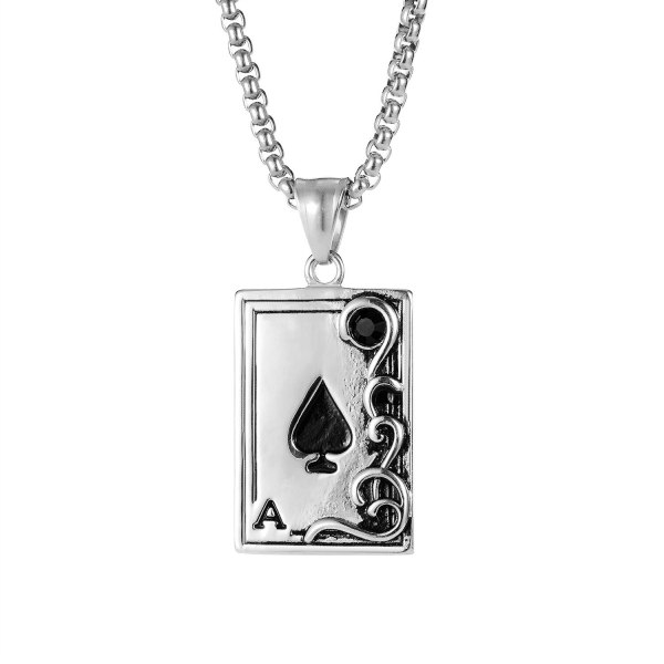 European and American Personalized Poker Card Black Peach A Pendant Cool Fashion Men's Stainless Steel Necklace Gb1940