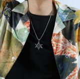 European and American Retro Punk Personality Six-Pointed Star Stainless Steel Pendant Men's Necklace Ornament Gb1927
