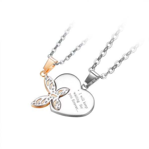 New Butterfly Love Titanium Steel Pendant Trendy Light Luxury Stainless Steel Couple Necklace Gb1933