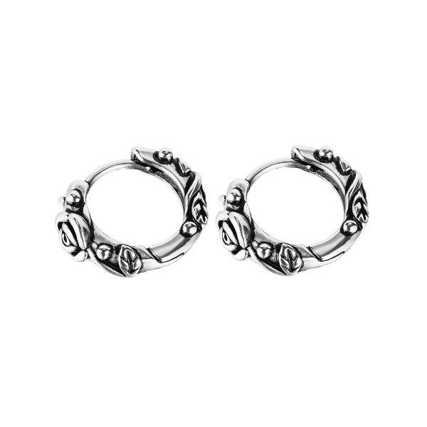 Japanese and Korean Elegant All-Match Retro Geometric Circle Earrings Street Stainless Steel Earrings Gb670