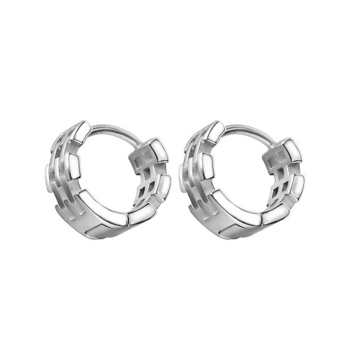 Korean Style Personalized Retro Simple All-Match Circle Stainless Steel Stud Earrings for Girlfriend Gb672