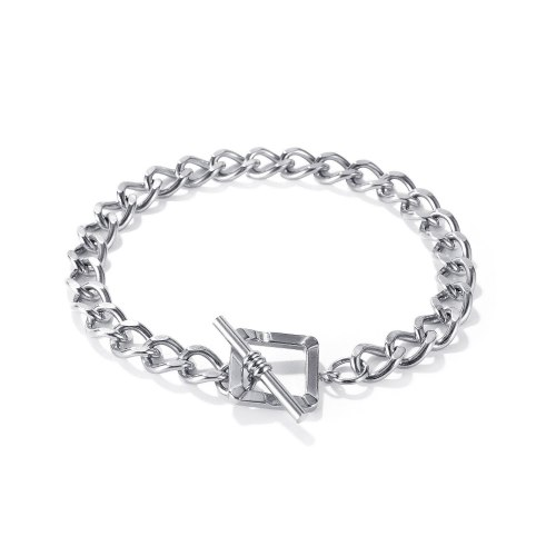 Korean Ins Niche Design Square Buckle Thick Chain Bracelet Internet Celebrity Simple All-Match Stainless Steel Bracelet Gb1148