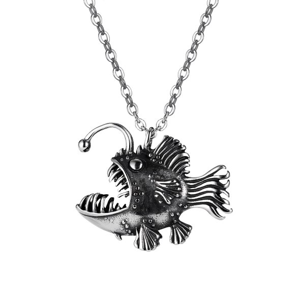 2021new European and American Style Street Hip Hop Classic Retro Men's Stainless Steel Fish Necklace Gb1938