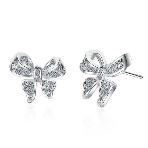 Bowknot Elegant Full Diamond Stud Earrings Women's Simple European and American Personality Cross-Border Earrings Xzed916
