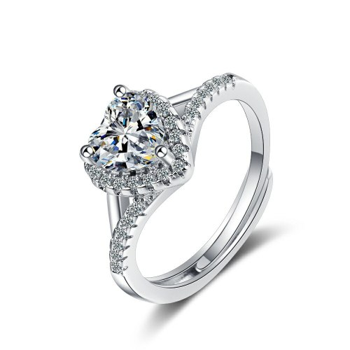 Flash Zirconium Diamond Ring Open Mouth Design Fashionable Temperament Ring Women's Ring Bracelet Xzjz376