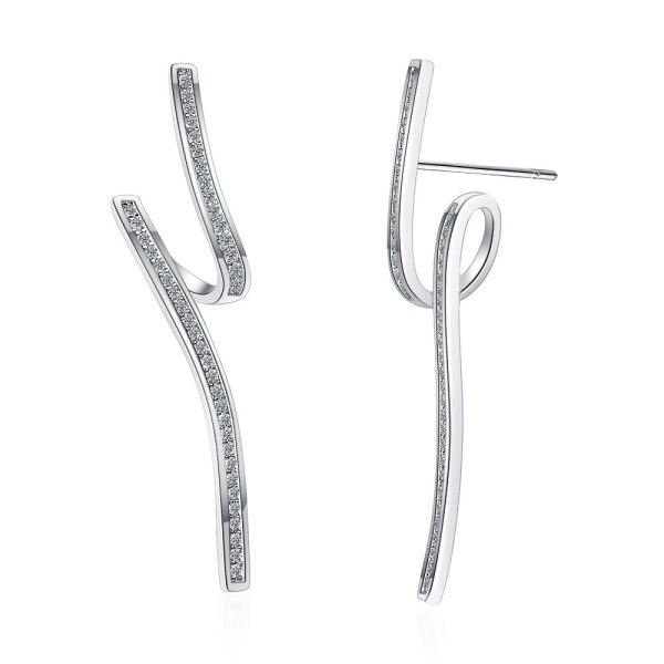Wave Line Earrings Inlaid with Zirconium Diamond Ins Irregular Temperament Small Earrings Xzed913