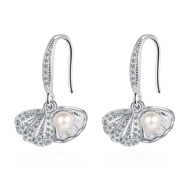 Women's Korean-Style Fresh Diamond-Embedded Earrings Shell Plastic Pearl Ear Hook Sweet Earrings Xzeh613