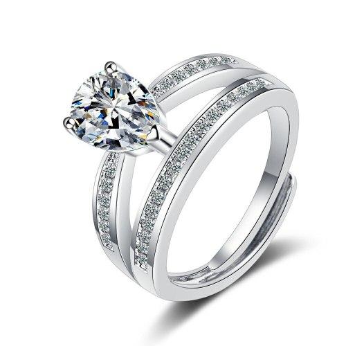 Flash Zirconium Diamond Ring Open Mouth Design Fashionable Temperament Ring Women's Ring Bracelet Xzjz384