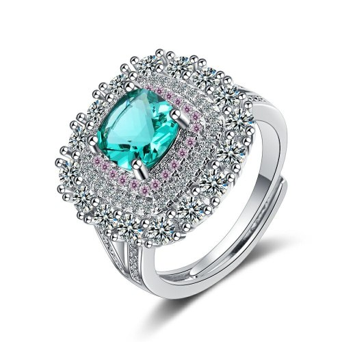 Korean Ins Ring Female Square Zirconium Diamond Wide Surface Women's Ring Bracelet Wedding Ring Xzjz390