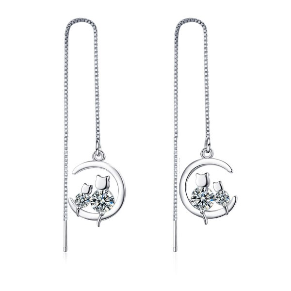 Hanging Earrings Female Korean Mori Style Fresh Inlaid Zirconium Diamond Hanging Earrings Hollow Ear Chain Ear Rings Xzeh619