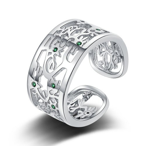 Diamond Lucky Tree Ring Men's and Women's European and American Style Hollow Open Ring Fashion Personality Xzjz389