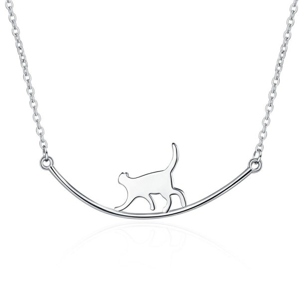 Simple Elegant Glossy Curved Smile Cat Jungle Gym Short Necklace Women's Clavicle Chain Pendant XzDZ542