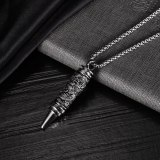European and American Personality Retro Panlong Bullet Pendant Stainless Steel Hip Hop Internet Celebrity Men's Necklace Gb1942