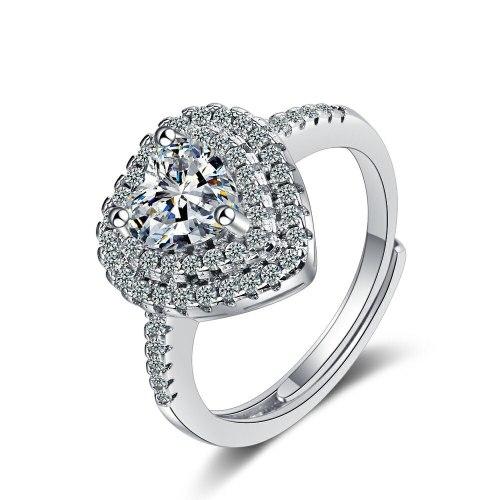 Flash Zirconium Diamond Ring Open Mouth Niche Design Fashionable Temperament Ring Women's Ring Bracelet Xzjz382