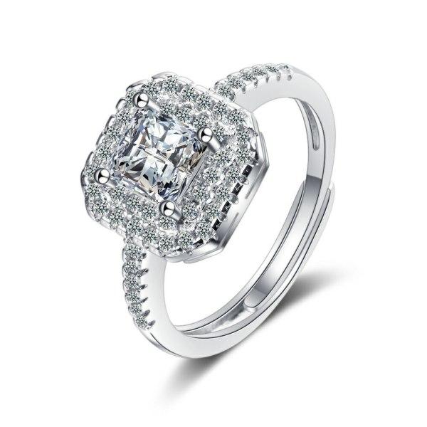 Korean Style Ring Female Square Zirconium Diamond Wide Face Ring Jewelry Xzjz387