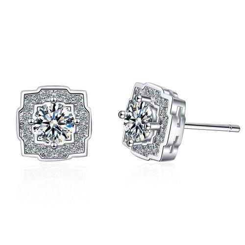 Fresh Elegant Zircon Diamond Hollow Square Sweet Earrings Super Flash Earrings Xzed914