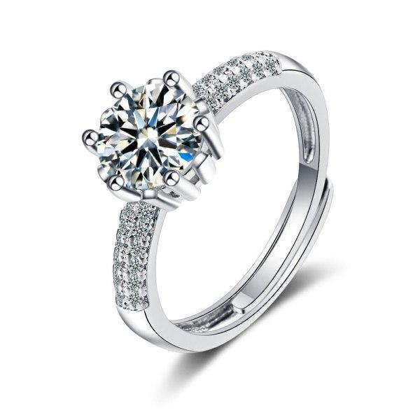 Flash Zirconium Diamond Ring Open Mouth Design Fashionable Temperament Ring Women's Ring Bracelet Xzjz374