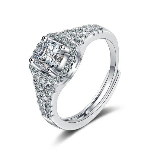 Flash Zirconium Diamond Ring Open Mouth Design Fashionable Temperament Ring Women's Ring Bracelet Xzjz386