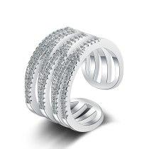 Ring Women's Korean-Style Fresh Multi-Layer Wave Diamond-Embedded Hollow Line Cross-Border Index Finger Ring XzJZ373
