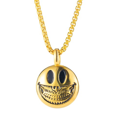 European and American Design Classic Trend Personality Smiley Skull Stainless Steel Necklace New Gb1945