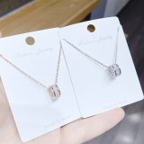 Korean Style Fashion Short Necklace Necklace Circle Inlaid Zircon Pendant Item Female Accessories hy393
