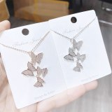 Korean Style Zircon Small Butterfly Necklace Exquisite Small Shiny Clavicle Chain Jewelry Women yh159