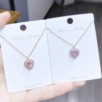 Korean-Style Fashion Heart-Shaped Necklace Women's Clavicle Ocean Heart Pendant Peach Heart Necklace Zircon Women's Jewelry