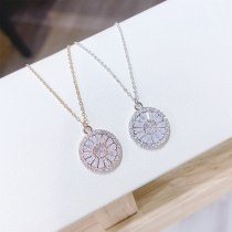 Korean Style Flower Necklace Women's Fashion Zircon Necklace Short Pendant Necklace Women's Jewelry Yh128