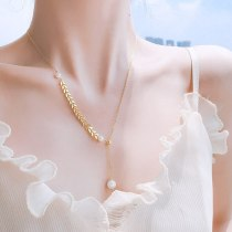 Pearl Wheat Leaf Necklace Ins Design Girlfriends Student Clavicle Chain Female Necklace Jewelry Wholesale