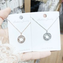 Titanium Steel Copper Micro Inlay English Letter Necklace White Gold Plated round Zircon Letter Pendant Necklace Yh449