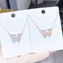 Zircon Fashion Sweet Elegance Birthday Gift Necklace Butterfly Necklace Female Accessories Yh419