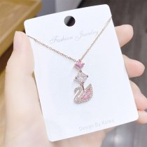 Korean Style Crystal Swan Necklace Women's Short Clavicle Chain Necklace Student Jewelry Yhx323