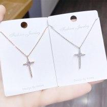 Simple Cross Necklace Jewelry Clavicle Chain Korea New Zircon Girls Necklace Pendant Wholesale
