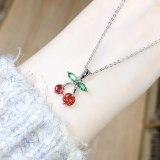 Cute Sweet Korean Style Student Female Small Cherry Necklace Versatile New Zircon Necklace Jewelry