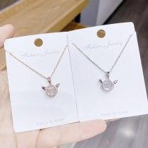 Korean Style Versatile Fashion Necklace Micro Diamond Pendant Female Clavicle Chain Zircon Wings Necklace Gift for Girlfriend