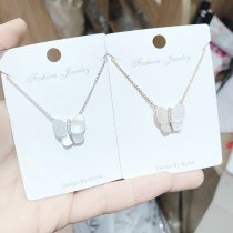 Women's Korean-Style Fashionable Shell Butterfly Necklace New Micro-Inlaid Zircon Clavicle Chain Jewelry