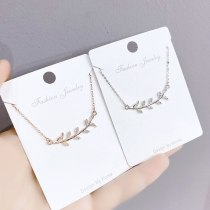 Micro Inlaid Zircon Olive Branch Necklace Korean Style Personalized Female Willow Leaf Tassel Clavicle Chain Fashion Wholesale