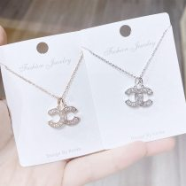 Korean Style Chanel Style Rhinestone Pairs C Clavicle Chain Necklace Simple Fresh Student Temperament Mori Necklace for Women