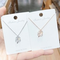Korean Style Fashion Necklace New Simple Clover Opal Necklace Clavicle Chain All-Matching Jewelry