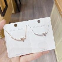 Korean Necklace Women's Simple Fashion Diamond Bow Pendant Set Chain Elegant Clavicle Chain Necklace