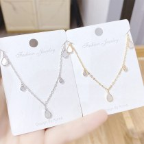 New Style Simple Water Drop Pendant Female Necklace Environmental Protection Plating Real Gold Clavicle Chain Female Jewelry