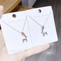 Korean Style Sweet Elk Pattern Necklace Cute Animal Deer Short Clavicle Chain Female Necklace Jewelry Wholesale