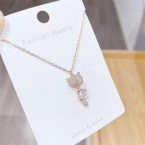 Fashion Korean Fashion Exquisite Necklace Micro-Inlaid Full Diamond Fox Temperament Clavicle Necklace Short Necklace for Women