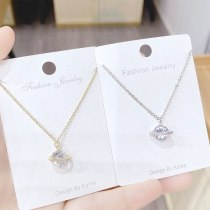 Korean All-Match Super Flash Zircon Micro-Inlaid Necklace XINGX Necklace Clavicle Chain Copper Plating Rose Gold Pendant