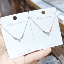 Bright Zircon Antlers Necklace Korean Versatile Creative New Clavicle Chain Girls' Jewelry Fashion Necklace Gift for Girlfriend