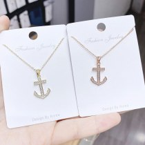 Korean Couple Necklace Boat Anchor Rudder Love Fashion Pendant Female Necklace Clavicle Chain Jewelry Wholesale
